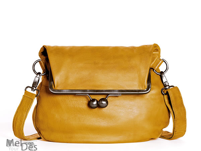 Cannes Tasche Leder washed Yellow
